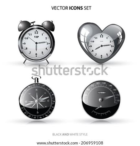 Vector Icon set. Clock,Compass,Speedometer - stock vector
