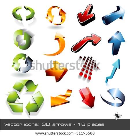 vector icon set: 3d arrows - 16 pieces ... and a fly - stock vector