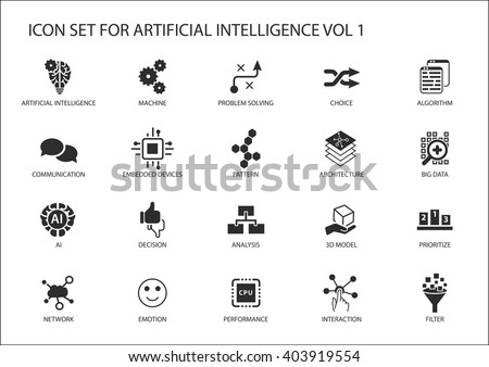 Vector icon set for artificial intelligence (AI) concept. Various symbols for the topic using flat design - stock vector