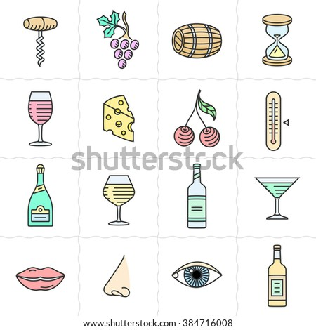 Vector icon set for back wine labels. Procurement, storage, cellar rotation and tasting icons. Linear style - stock vector