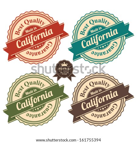 Vector : Icon Set for Quality Assurance and Quality Management Concept Present By Circle Colorful Vintage Style Icon With Made in California Best Quality Guarantee Isolated on White Background  - stock vector