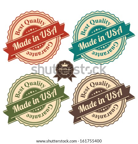 Vector : Icon Set for Quality Assurance and Quality Management Concept Present By Circle Colorful Vintage Style Icon With Made in USA Best Quality Guarantee Isolated on White Background  - stock vector