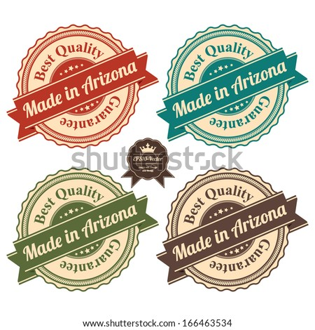 Vector : Icon Set for Quality Assurance and Quality Management Concept Present By Circle Colorful Vintage Style Icon With Made in Arizona Best Quality Guarantee Isolated on White Background  - stock vector