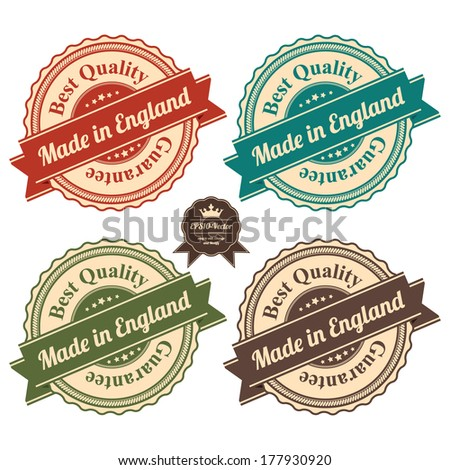 Vector : Icon Set for Quality Assurance and Quality Management Concept Present By Circle Colorful Vintage Style Icon With Made in England Best Quality Guarantee Isolated on White Background  - stock vector