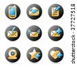 Vector icon set for web design in gold, blue color - stock vector