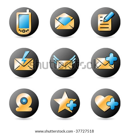 Vector icon set for web design in gold, blue color