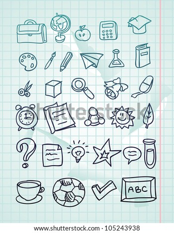 vector icon set - hand drawn school doodles  on paper