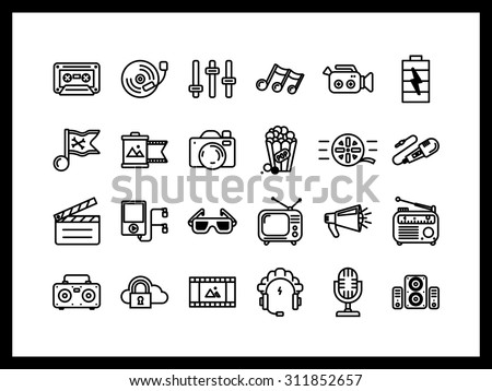 Vector icon set in a modern style. Creative profession, sound recording and film making, Photography, directing, product creation.