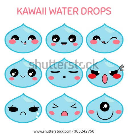 Vector icon set. Kawaii water drops, raindrops, morning dew. Funny, cute, sweet emotions, smiles. Flat cartoon style. Element for design. Cartoon character with different face expressions - stock vector