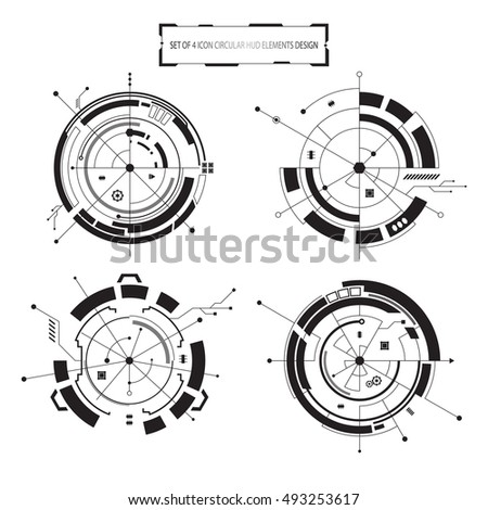 vector icon set of 4 circular hud elements interactive isolated design