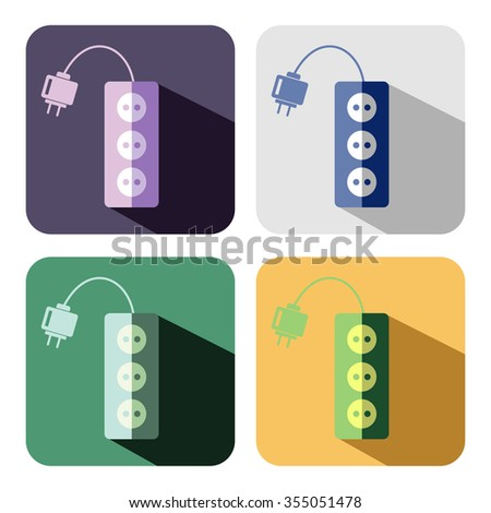 Vector icon. Set of colorful icons of power strip, isolated on the white background - stock vector