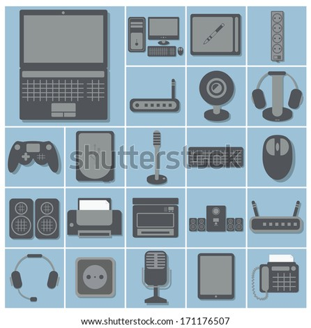 vector icon set of computer gadgets and devices 22 squares collection, light blue background isolated