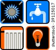 Vector Icon Set of Four Essential Public Services: Gas, Water, Electricity, and Heating - stock photo