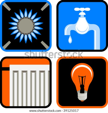 Vector Icon Set of Four Essential Public Services: Gas, Water, Electricity, and Heating - stock vector