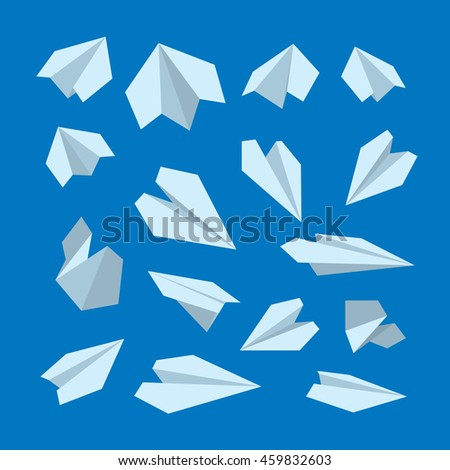 vector icon set of Origami plane collection. Handmade paper plane isolate on dark background