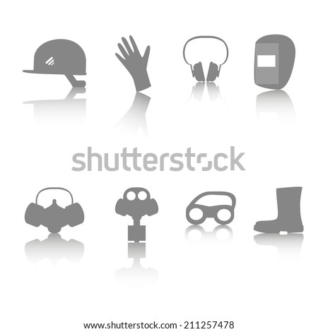 Vector icon set of personal protective equipment (PPE) with reflection on white background - stock vector