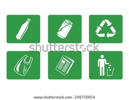 Vector icon set of recyclable materials for waste management labels - stock vector