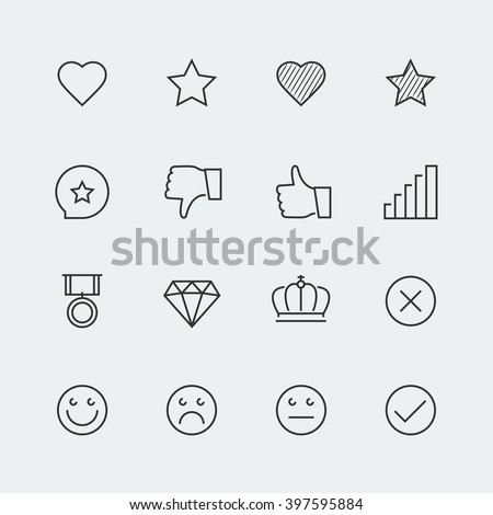 Vector icon set of social media labels for rating - stock vector