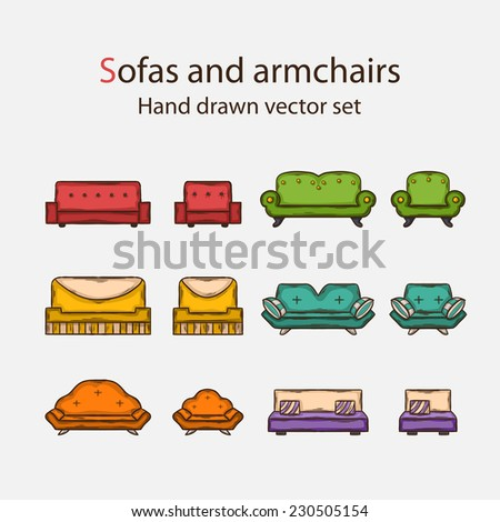 Vector Icon set of sofas and armchairs in doddle style with shadow  - stock vector