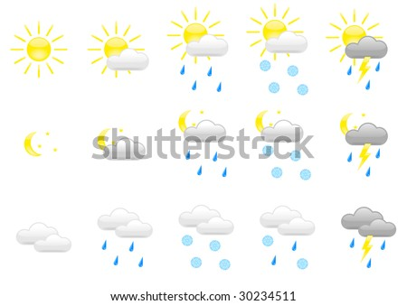 Vector icon set of some kinds of weather