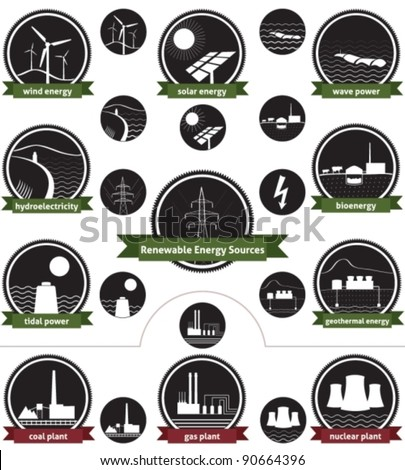 Vector icon set of sustainable energy generation and the three main non-renewable energy sources today - stock vector