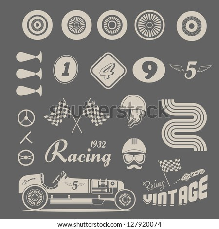 Vector icon set of vintage car racing - stock vector