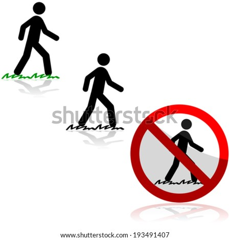 Vector icon set showing a man walking on grass and a sign saying it's forbidden to do so