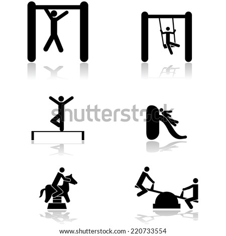 Vector icon set showing children playing in different toys of a playground - stock vector