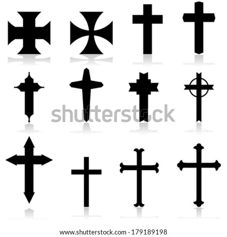 Vector icon set showing crosses in different patterns and designs - stock vector