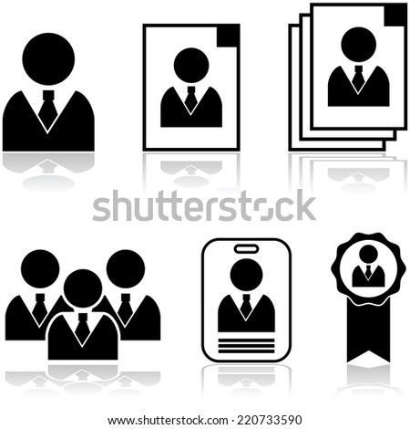 Vector icon set showing different stages in the selection and hiring of new employee - stock vector