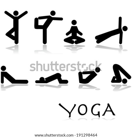 Vector icon set showing different yoga poses performed by stick figures - stock vector