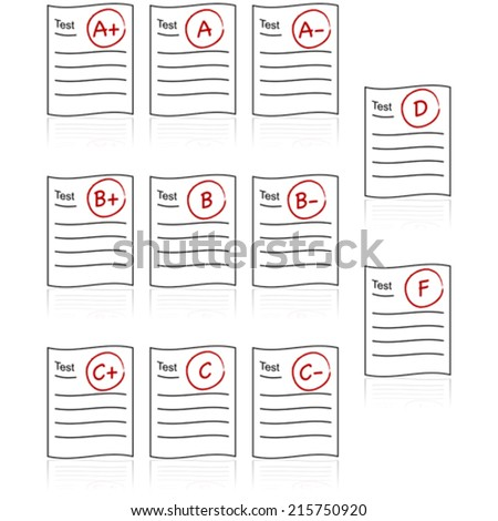 Vector icon set showing school tests with different grades, from A+ to F