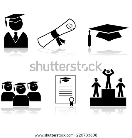 Vector icon set showing students graduating from school or university - stock vector