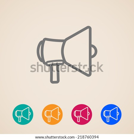 vector icon set with a megaphone or loudspeaker  in flat style design  - stock vector
