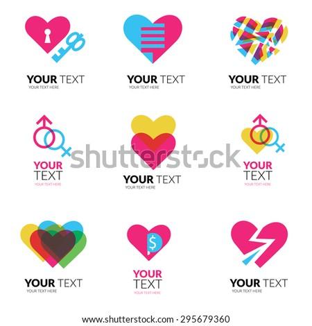 Vector icon set with hearts logo design - stock vector