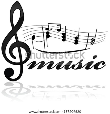 Vector icon showing a stylized musical note line with the word music underneath - stock vector