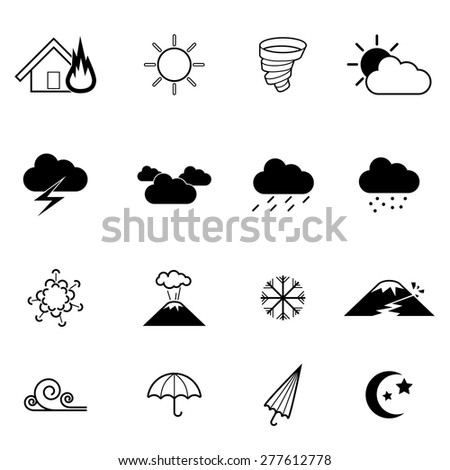 vector icon showing various natural disaster, flood,fire,tornado,earthquake  - stock vector