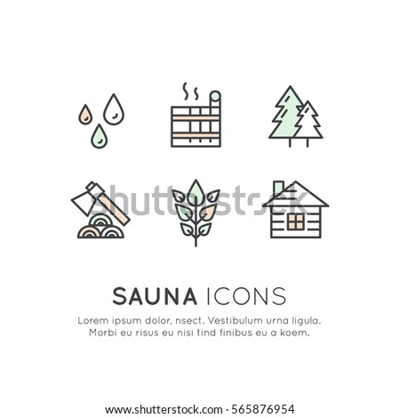 Vector Icon Style Illustration Logo Set For Web Or Mobile Sauna And Steam Hot House