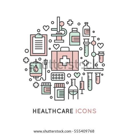 Vector Icon Style Illustration Set of Medical and Healthcare Research  Items, Insurance, MRI, Scan, Check-Up Forms, Blood Testing. Isolated Objects for Medical Poster