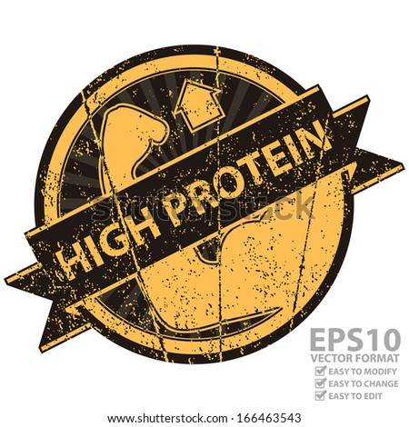 Vector : Icon, Tag, Sticker, Label or Badge For Healthy Product or Product Information Present By Black and Orange Grunge Style Icon With High Protein Ribbon and High Protein Sign Isolated on White