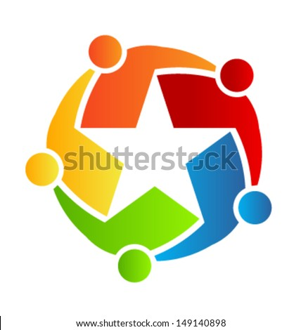 Vector Icon Team Star, Group of People - stock vector