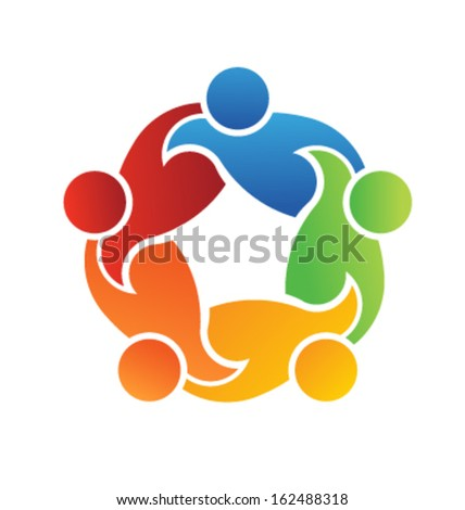 Vector Icon Teamwork Support 5. Group of People - stock vector