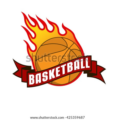 Vector icon with a fire basketball ball and red ribbon. Hottest players badge.
