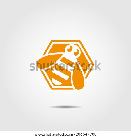 vector icon with bee in the hexagon - stock vector