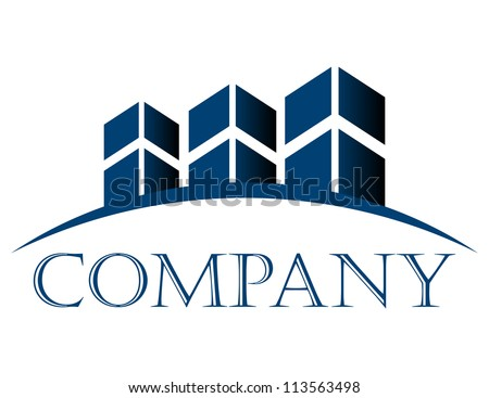 Vector icon with buildings and space text - stock vector