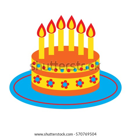 Vector icon cute bright birthday cake stock vector 570769504 vector icon with cute bright birthday cake and six candles isolated on the white background pronofoot35fo Choice Image