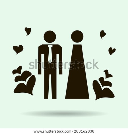 Vector icon with man and woman. Simple illustration with figures of peoples.