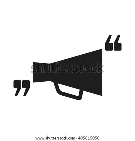 Vector icon with quote and megaphone. Black mark and bullhorn symbol. Feedback form template. Business dialog pictogram. Isolated comma design.  - stock vector