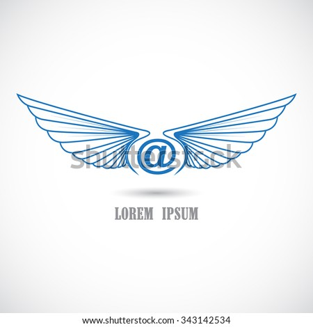 Vector icon with wings. - stock vector