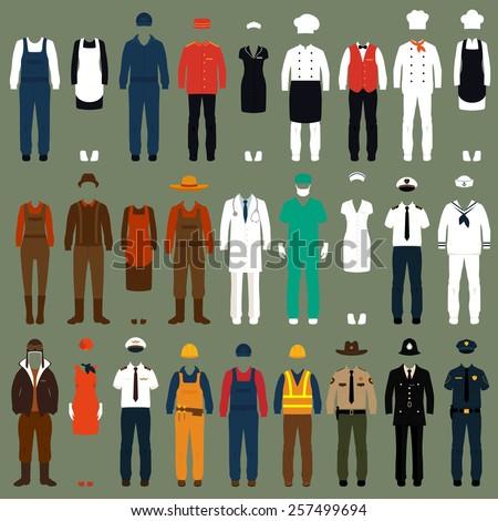 vector icon workers, profession people uniform, cartoon vector illustration  - stock vector